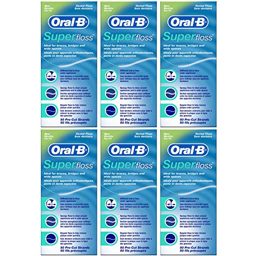 Oral-B - Filo Interdentale Super Floss 50 pezzi Pre tagliato (Confezione da 6)