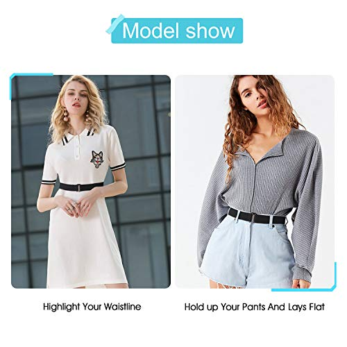 No Show Women Stretch Belt Invisible Elastic Web Strap Belt with Flat Buckle for Jeans Pants Dresses(Suit for US Size 0-16,Black-Guncolor Buckle)