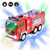 Hoovy Electric Fire Truck Kids Toy - with Bright Flashing 4D Lights & Real Siren Sounds   Bump and Go Firetruck for Boys   Automatic Steering on Contact   Fire Engine Toy Trucks for Imaginative Play
