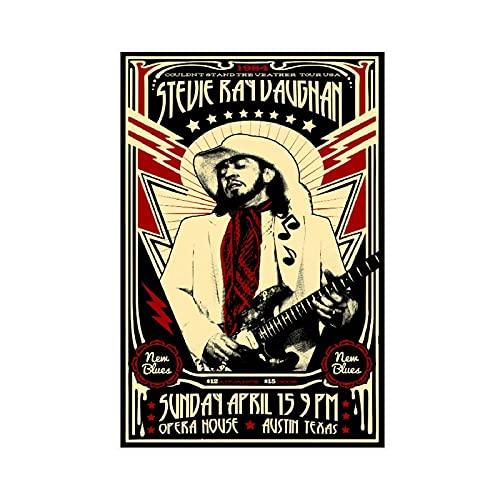 Poster de concert Stevies Ray Vaughan - Décoration murale - Pour salon, chambre à coucher - Sans cadre : 30 x 45 cm