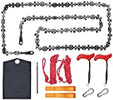 Upgrade 53 Inch High Reach Tree Limb Hand Rope Saw with Two Ropes, 68 Sharp Teeth Blades on Both Sides, Folding Pocket Chain Saw Survival Gear for Camping, Hunting, Hiking (53 Inch 68 Teeth Model)