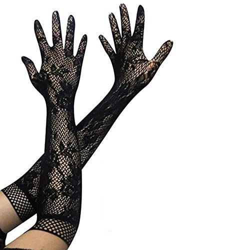 Bluelans® Spitzen Handschuhe Brauthandschuhe Abendhandschuhe lang Hochzeit Party Sexy Abendkleid Hochzeit (Schwarz)