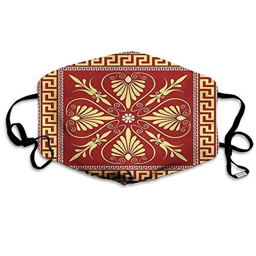 Comoda copertura antivento per il viso, design con telaio in stile antico con labirinto greco e foglie ricce, decorazioni per il viso stampate per tutti.
