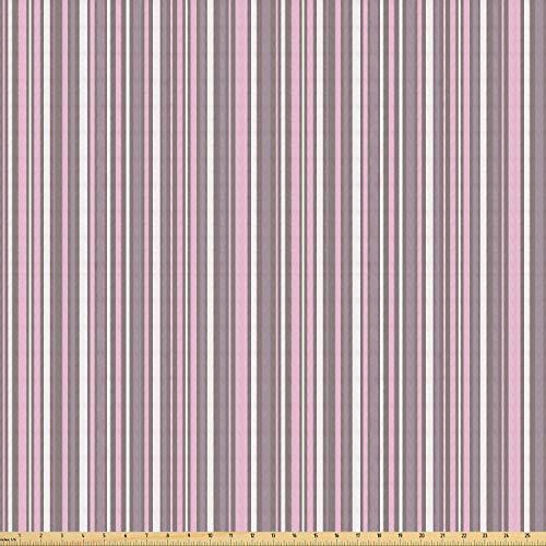 ABAKUHAUS meetkundig Stof per strekkende meter, Vertical Line Art, Stretch Gebreide Stof voor Kleding Naaien en Kunstnijverheid, 3 m, Warm Taupe Pink White