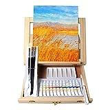 Tavolozzaイーゼルアートセット19ピース付き卓上イーゼルキャンバス20×30センチアクリルペイントブラシパレット