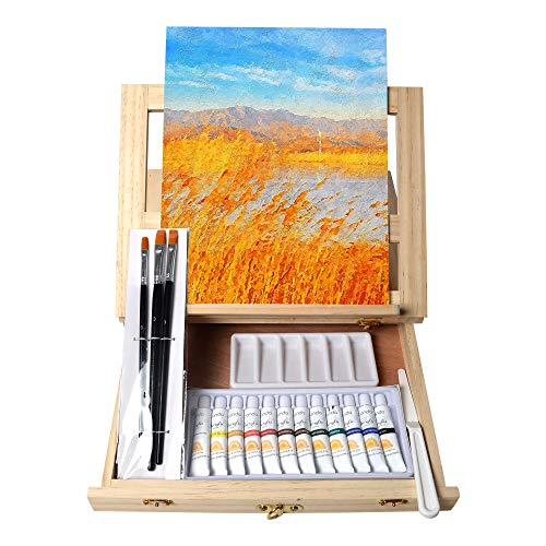 Tavolozza 19pcs Painting Table Easel Set, Wooden Mixed Media Art Set Easel Kit Includes Tabletop Easel, Acrylic Paints, Brushes, Canvas Panel, Art Supplies Gift for Beginners, Kids, Adults