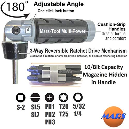 Heavy Duty RATCHETING SCREWDRIVER - ADJUSTABLE ANGLE - 3 Way Ratchet - NONSLIP Big Rubber Grip - Multibit Storage w/Ph Hex Torx Bits | Durable Portable Screw Driving Solutions from Mars-Tool