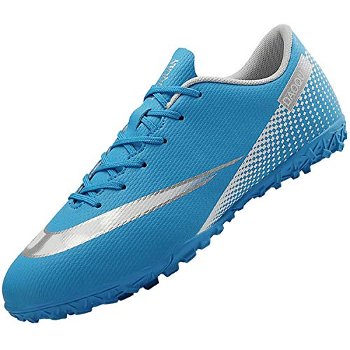 Topwolve Zapatillas de Fútbol para Hombre Profesionales Botas de Fútbol Aire Libre Atletismo Zapatos de Entrenamiento Zapatos de Fútbol,Azul,35 EU