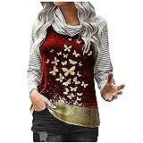 Wave166 Camiseta de manga larga para mujer, con diseño de patchwork, elegante, cuello apilado, blusa, camisa con lentejuelas, mariposa impresa, camiseta de manga larga, rojo, S