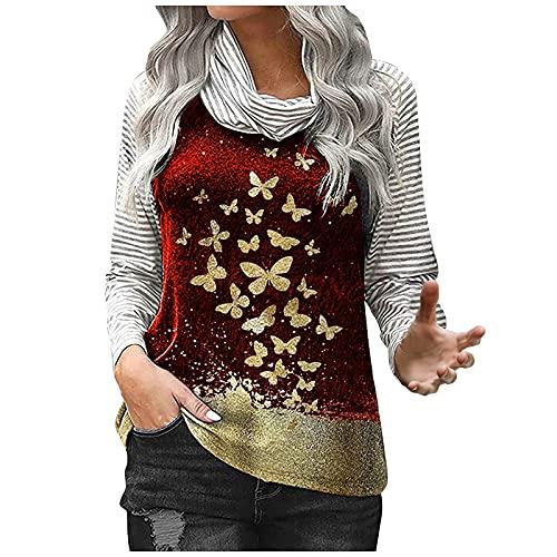 Sudadera de mujer de manga larga, tops de cuello apilado, jersey con bronce y mariposas, informal, a rayas, manga larga, jersey de invierno, cuello redondo, túnica, sin capucha, rojo, XL