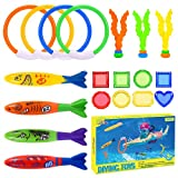 superwinky Diving Pool Toys for Kids 3-10, Swimming Dive Pool Party Toys Set for Kids 8-12 Summer Fun Water Cool Toys for Kids Rings Games Age 4-8 Shark Birthday Gifts for Boys Girls