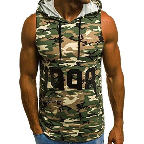 Herren Tank Top Gym Fitness Tops Camouflage Ärmellos Kapuze Hoodie Muskelshirt Sommer Sport Oversize Shirts Mode Männer Slim Fit Party Strand Oberteil Oben Muskel Training Bodybuilding T-Shirt