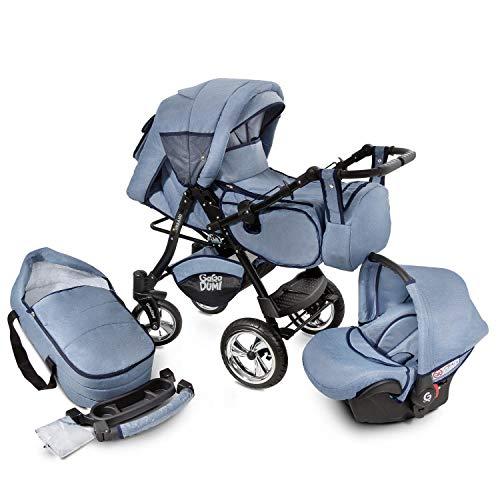 Buggie Urbano Denim | 3-in-1-System | Kinderwagen, Kombikinderwagen, Babyschale, Autositz System | Zwei-Wege-Griff | Travel System | Moderner, Leichter Trolley mit Allem Zubehör Inklusive