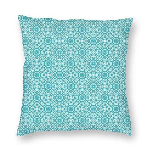 Fundas de almohada con diseño abstracto continuo con efecto mandala moderno monocromo estilizado funda de almohada decorativa para decoración del hogar, sofá, 45,7 x 45,7 cm