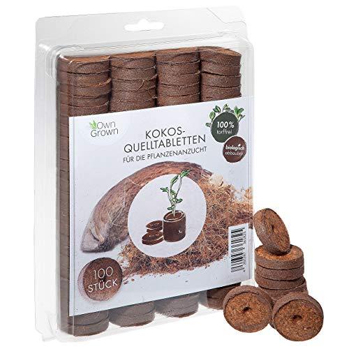 OwnGrown Kokos Quelltabletten mit Nährstoffen – 100 Stück, Kokoserde gepresst zur Pflanzen Anzucht ohne Pikieren, torffrei – Anzucht Erde Kokos