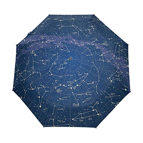 POMNEFE Regenschirm, kreativer automatisches Öffnen und Schließen Regenschirme, Sternbild Galaxie Muster Regenschirme, tragbar Sonnenschutz Regenschirme