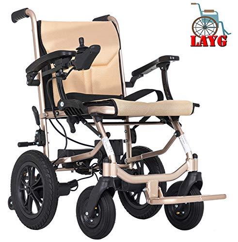 LAYG Elektrorollstuhl Faltbar Elektrische Rollstühle Faltbar, Dualcontrol Elektro-Rollstuh für Elektrorollstuhl Li-ion-akku Für Die Wohnung,ältere Und Behinderte Menschen,360-Grad-Joystick,Golden