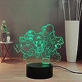 Yoshi Mario Luigi - Lámpara de escritorio LED de 7 colores con mando a distancia para niños, luz nocturna para dormitorio, regalo de cumpleaños para niños