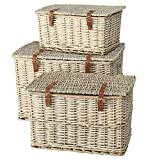 Cape Cod Wicker Trunks, Set of 3, Woven Rattan, Faux Leather Straps and Handles, Storage and Blanket Chests, Various Sizes, Hinged Tops, Chunky Weave, Distressed White Willow