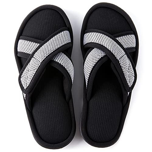 ULTRAIDEAS Women's Men's Memory Foam Slide Slippers, Slip-on Open Toe Cross Brand House Shoes with Anti-Skid Rubber Sole, White, Size 8-9 Women/6-7 Men