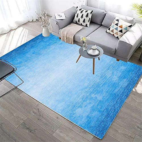 Kunsen Alfombra meditacion alfombras Alfombra Rectangular para Sala de Estar Azul Resistente al Desgaste y Color-rápido Alfombra para niños 160X200CM 5ft 3' X6ft 6.7'
