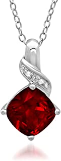 Created Ruby and Diamond Pendant-Necklace in Sterling Silver (2 1/2ct tgw)