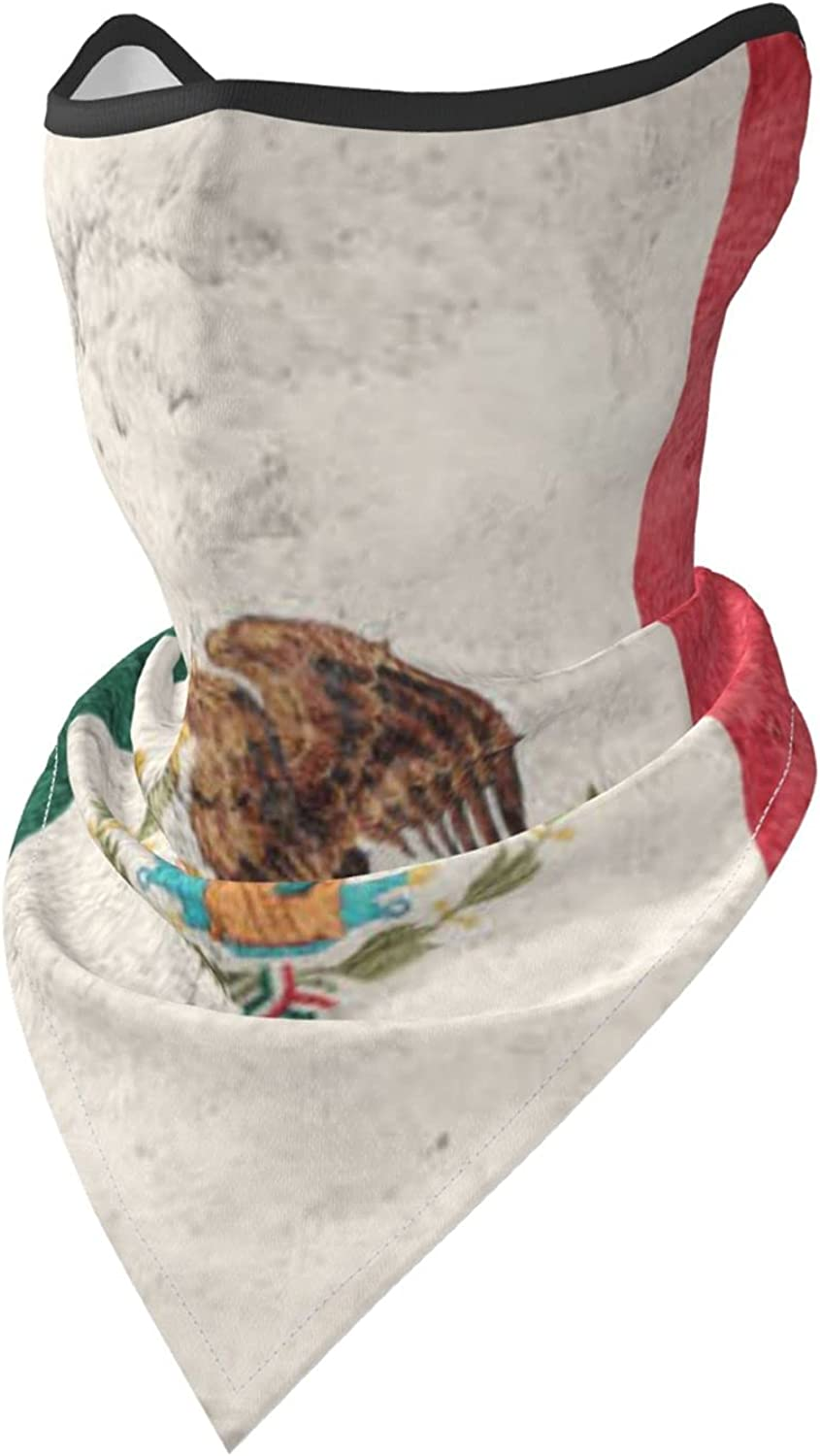 Grunge Mexico Flag Breathable Bandana Face Mask Neck Gaiter Windproof Sports Mask Scarf Headwear for Men Women Outdoor Hiking Cycling Running Motorcycling