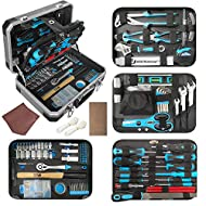 【VERSATILE USE】This household tool kit contains an assortment of hand tools needed for most simple garage, home and office repairs and projects, such as screw replacement, tightening and maintenance, and other small DIY projects around your house. 【C...