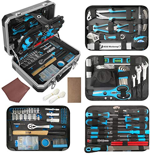WZG Werkzeug 194 Piece Household Tool Set Kit with Case Including Socket,Screwdrivers Set,Hammer,Adjustable Wrench and Pliers