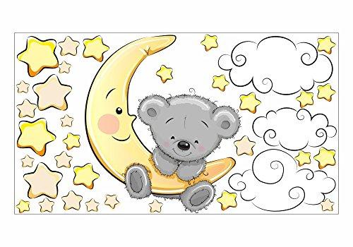 064 Wandtattoo Teddy auf Mond Wolken Sterne - in 6 Größen - Kinderzimmer Sticker Babyzimmer Sternenhimmel Wandaufkleber niedliche Wandsticker süße Wanddeko Wandbild Junge Mädchen (750 x 420 mm)