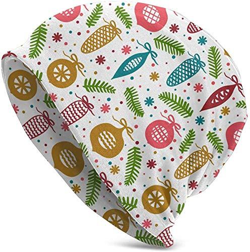 cvbnch Weihnachtskugeln Zweige und Zapfen Slouchy Beanie Mütze Strickmütze Winter Ski Skull Cap für Männer Frauen Schwarz