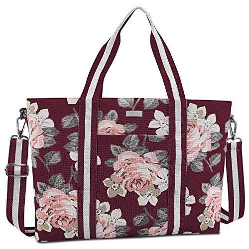 MOSISO Laptop Tote Bag (Up to 15.6 Inch), Canvas Classic Multifunctional Work Travel Shopping Duffel Carrying Shoulder Handbag Compatible with Notebook MacBook Ultrabook Chromebook, Wine Red Base Rose