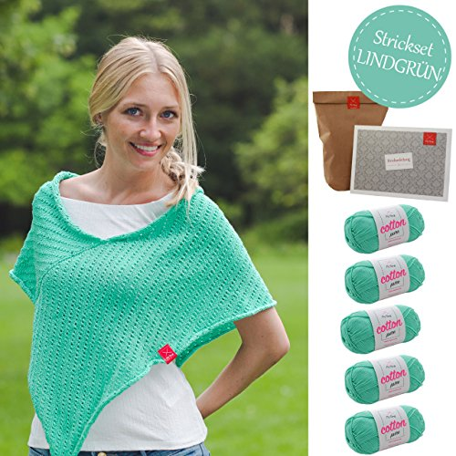 MyOma Strickset Poncho - Strickpackung Poncho Savanne Strickpaket mit 5 Knäuel Baumwolle Cotton Pure und Strickanleitung - Poncho Stricken - Strick Set - DIY Set