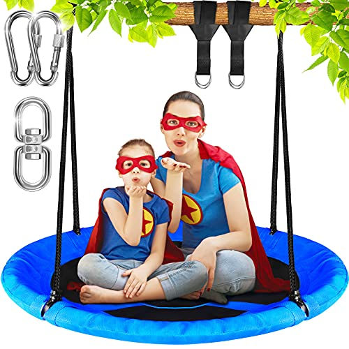 Dimples Excel Tree Swing Set Saucer Swing Seat for Kids Backyard Outdoor (Blue)