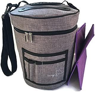BEST Crochet Yarn Storage Bag Organizer with Divider for Crocheting & Knitting Organization. Portable Travel Yarn Holder Tote. Zip Bin with Pockets for Knitter Accessories. Storage Organizer Bag