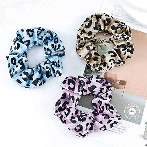 Cheveux léopard chouchous élastiques roses élastiques à cheveux en velours bleu cheveux accessoires pour femmes filles pack de 3