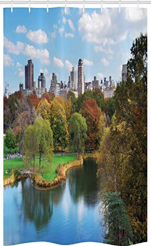 ABAKUHAUS New York Schmaler Duschvorhang, Central Park Herbst, Badezimmer Deko Set aus Stoff mit Haken, 120 x 180 cm, Mehrfarbig