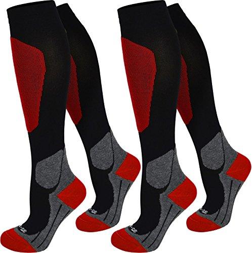 normani 2 Paar Kompressionsstrümpfe schwarz. Tolle Qualität, Spitze handgekettelt in 3 Größen erhältlich Farbe Sport/Rot Größe 39/42