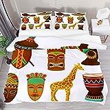 Juego de ropa de cama transpirable, colección de símbolos África, 3 piezas, funda de edredón (1 funda de edredón + 2 fundas de almohada) decoración de la habitación microfibra ultra suave