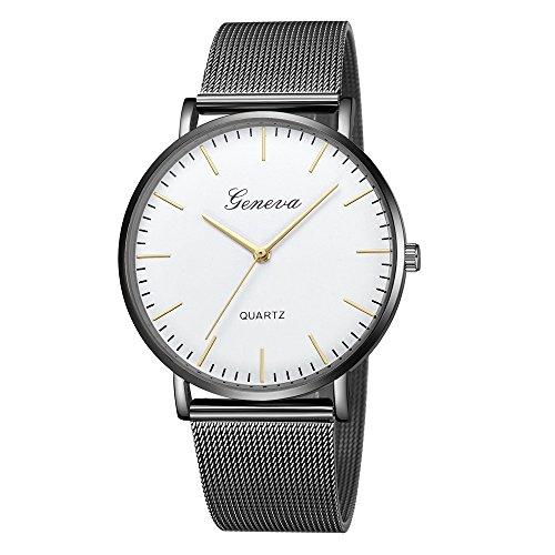 xy Reloj de Cuarzo Negro Hombres Malla de Malla de Acero Inoxidable de Acero Inoxidable Regalo de Reloj de Pulsera Casual para Mujer Ginebra (Color : Large)