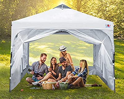 ABCCANOPY Canopy Tent Compact Outdoor Canopies 10x10 Instant Shelter Portable Canopies with Wheeled Backpack Carry Bag and Mesh Walls, Bonus Extra 4 Weight Bags, 4Ropes& 4Stakes,White