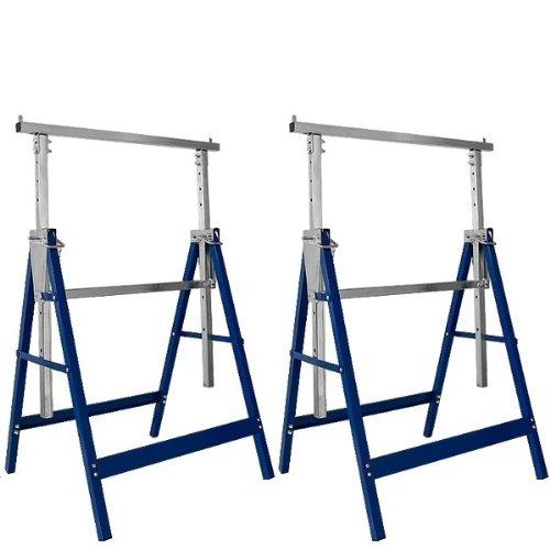 Deuba Cavalletti da lavoro 2pz carico max. 200kg regolabili in altezza 7 altezze cavalletti pieghevoli