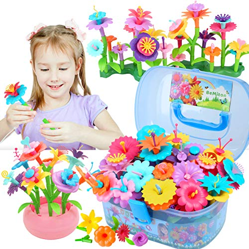 BEMITON Flower Building Toy Set for Girls, Best Birthday Gift for 3 4 5 6 Year Old Kids, Arts and Crafts Kit for Toddlers, STEM Activities and Gardening Pretend Playset, 148 pcs
