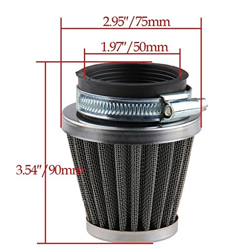 Beehive Filter OxoxO 50mm Filtre à air pour 50cc-110cc Motorcycle ATV Dirt Pit Bike Go Kart Oval Metallic Clamp-on Refit Intake Funnel Silver