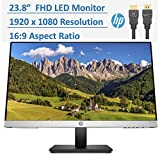 2020 Newest HP 23.8' Full HD (1080p) IPS LED PC Computer Monitor Built-in Speakers, VESA Mounting, Height/Tilt Adjustment Ergonomic Viewing 178, HDMI, VGA, 5ms, 16:9, w/HubXcel HDMI Cable
