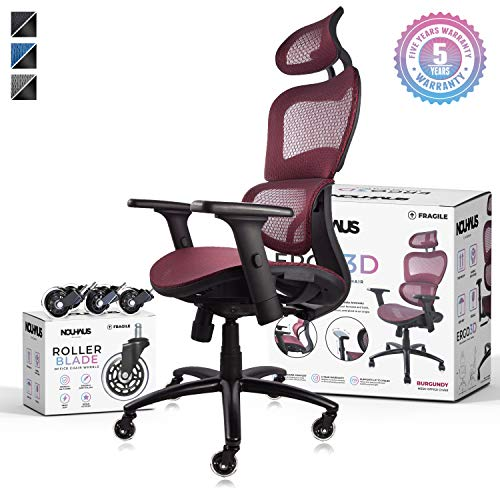 NOUHAUS Ergo3D Ergonomic Office Chair - Rolling Desk Chair with 3D Adjustable Armrest, 3D Lumbar Support and Extra Blade Wheels - Mesh Computer Chair, Gaming Chairs, Executive Swivel Chair (Burgundy)