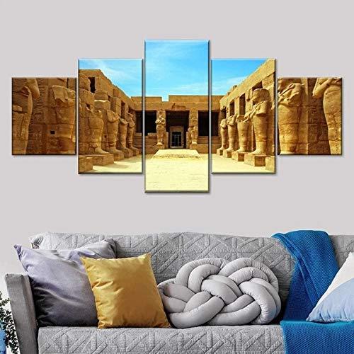 QWASD Antiguo Templo Egipcio Impresión De Lienzo 5 Paneles Cuadro En Lienzo Moderno Impresión De 5 Piezas Impresión Artística Imagen Gráfica Decoracion De Pared - Enmarcado 150 * 80Cm