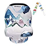 Nursing Cover for Baby Breastfeeding Stretchy Car Seat Canopy for Baby Girls/Boys, Multi-Purpose Soft Breathable Nursing Cover for Shopping Cart, High Chair, Stroller, Baby Shower Gifts(Blue)