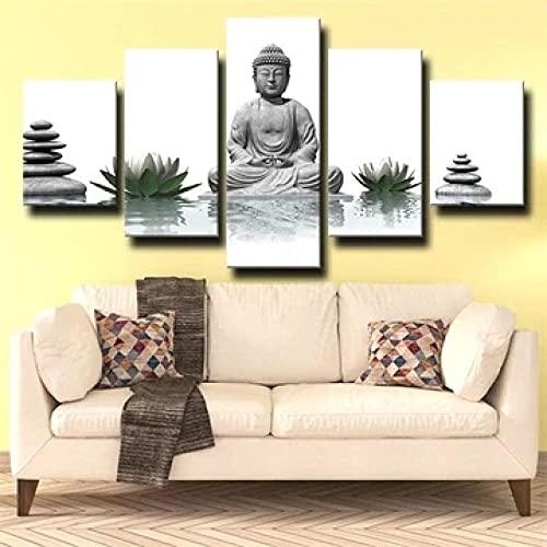 5 Pezzi Stampe E Quadri su Tela Poster Buddha Saggio Bianco per Soggiorno Home Decor Arte della Parete Muro Murale Moderno XXL HD Immagine Quadri Telaio B 40X30X2 60X30X2 80X30X1