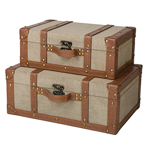 SLPR Carson Wooden Storage Chest - Set of 2 | Storage Trunk Suitcases (Beige) | Old-Fashioned Antique Fabric-Covered Nesting Trunks